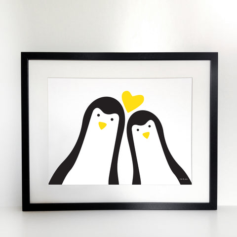 Penguins Selfie Couple Print - Unframed