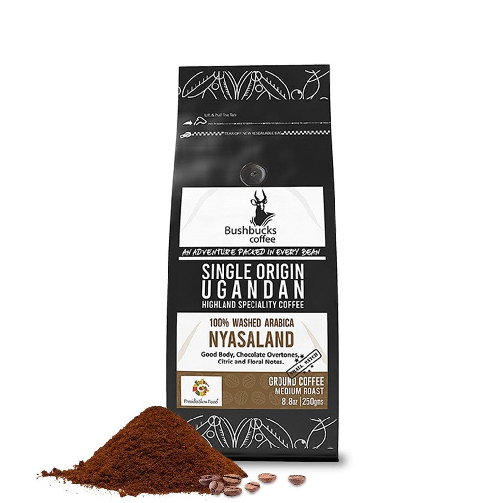 Quality Premium Coffee,     chocolate tones,    Nyasaland coffee variety,      Medium roasted coffee