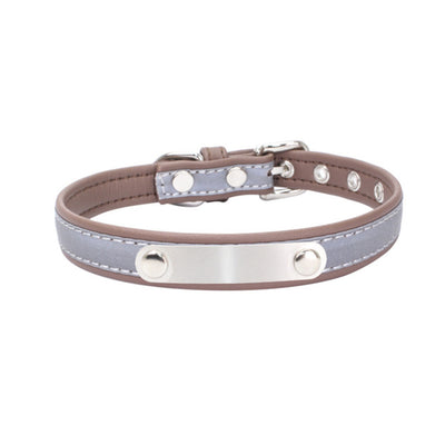 Reflective, Personalized Leather Cat Collar