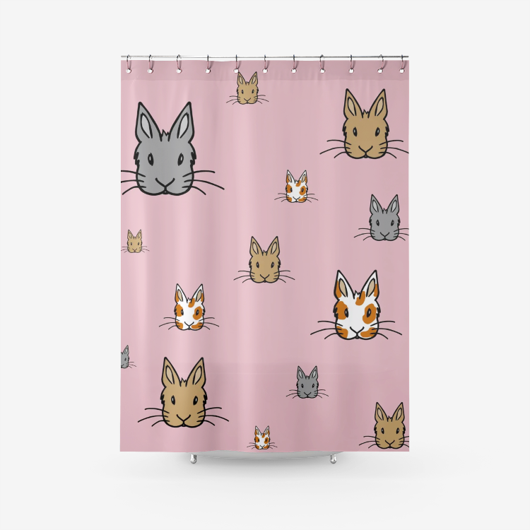 Bunny Faces Shower Curtain Printed Bathroom Curtains in Pink - Bunnypapa