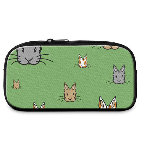 """Bunny Faces"" Patterned Green Pencil Case - Bunnypapa"
