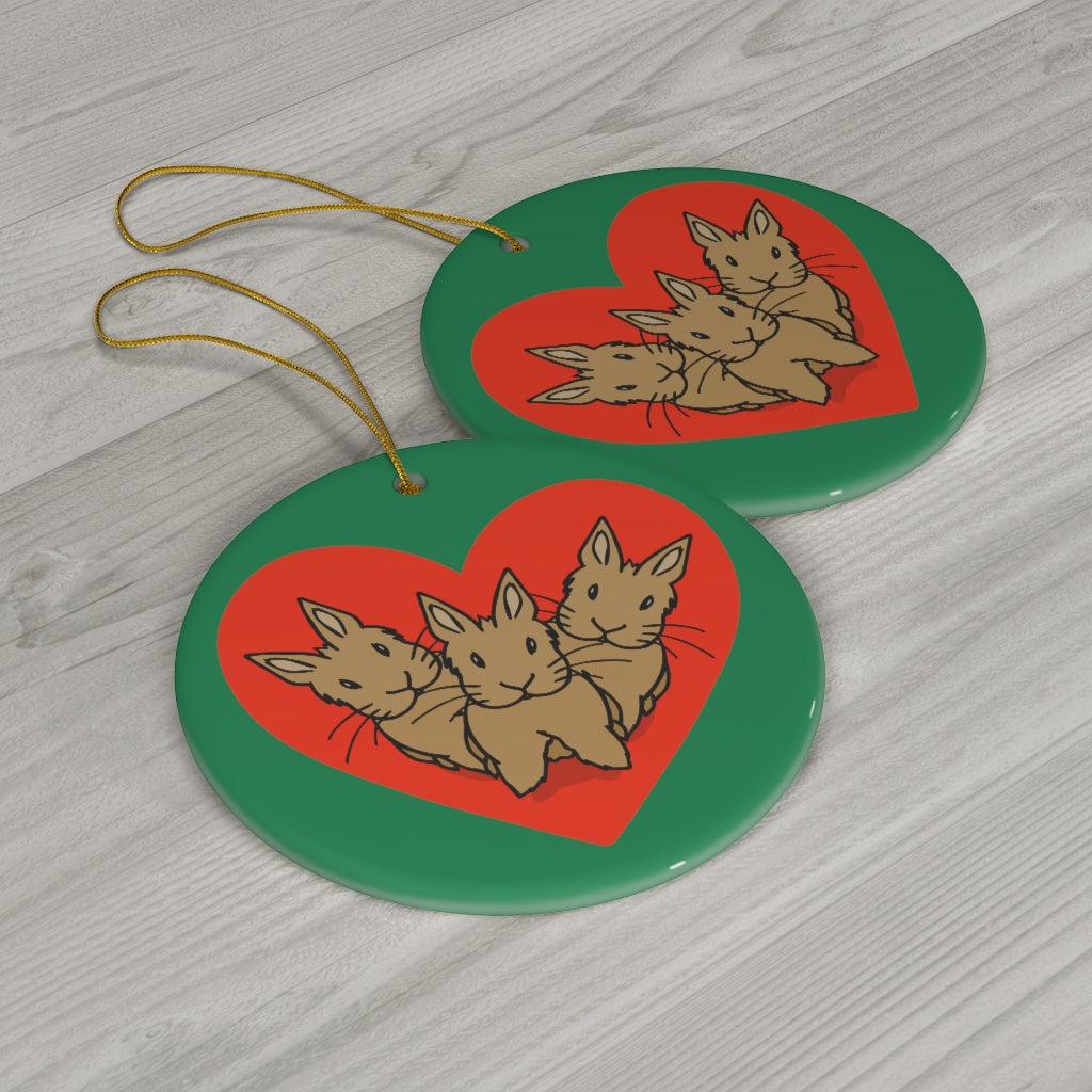"""Bunny Hearts"" Ceramic Ornaments - Bunnypapa"