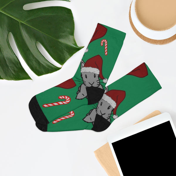 Santa Bunnies and Candycanes Christmas Socks - Bunnypapa