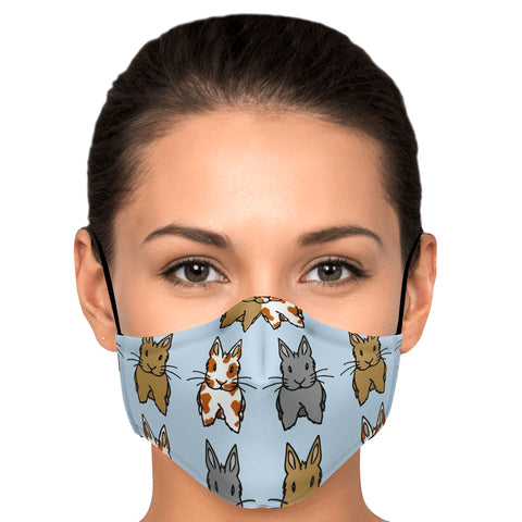 """Rows of Bunnies"" Patterned Face Mask - Bunnypapa"