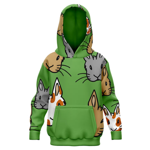 """Bunny Faces"" Multi Patterned Kids Green Hoodie - Bunnypapa"
