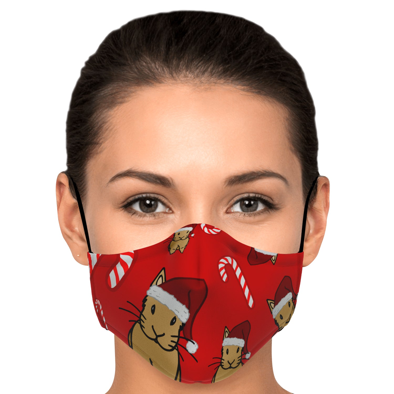 """Santa Bunnies and Candycanes"" Patterned Face Mask - Bunnypapa"