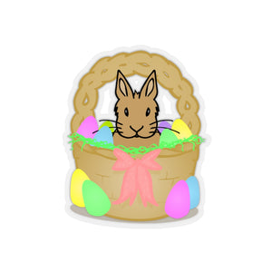 """Brown Bunny in an Easter Basket"" Cut Out Stickers - Bunnypapa"