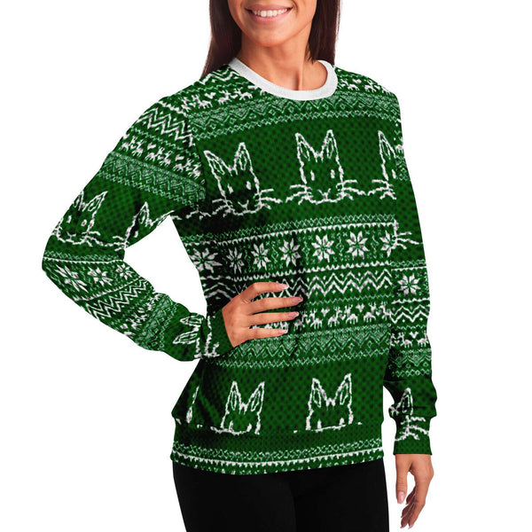Bunny Patterned Ugly Knit Christmas Sweater in Green - Bunnypapa