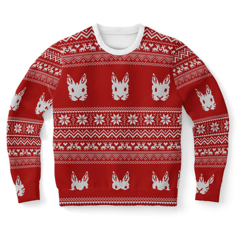 """Bunny Patterned"" Ugly Knit Christmas Sweater in Red - Bunnypapa"