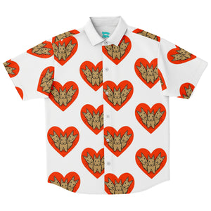 """Bunny Hearts"" Patterned Button Down Shirt - Bunnypapa"