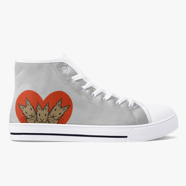 Bunnies in a Heart Classic High-Top Canvas Shoes - Bunnypapa