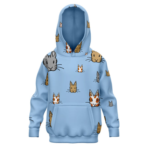 Bunny Faces Patterned Kids Hoodie in Baby Blue - Bunnypapa
