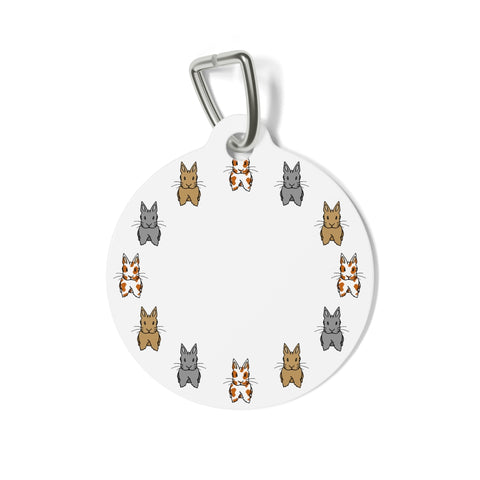 """Bunnies in a Circle"" Metal Pet Tag - Bunnypapa"