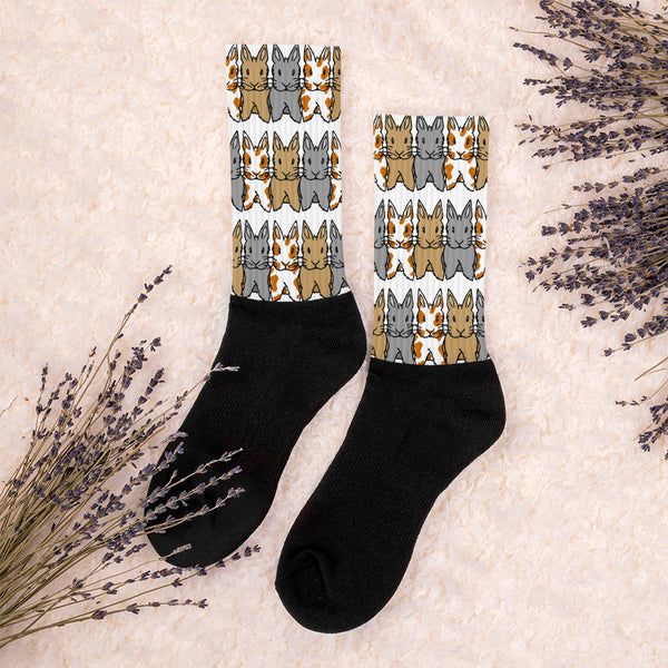 """Rows of Bunnies"" Patterned Socks - Bunnypapa"