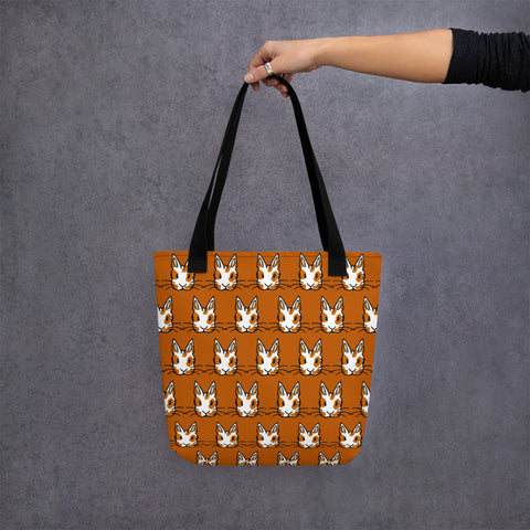 """Orange Rex Bunnies"" Patterned Tote Bag - Bunnypapa"