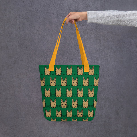 """Brown Bunnies"" Patterned Tote Bag - Bunnypapa"