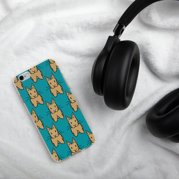 """Beige Bunny"" Brick Pattern iPhone Case (Teal) - Bunnypapa"