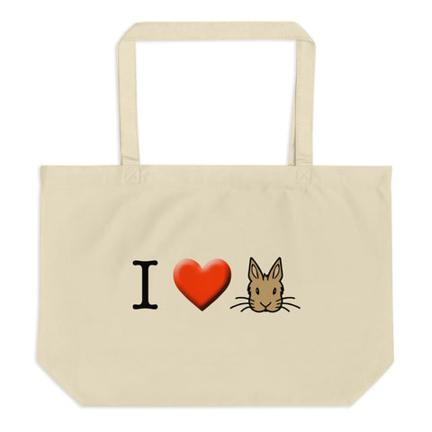 """I Love Bunnies"" Large Tote Bag - Bunnypapa"