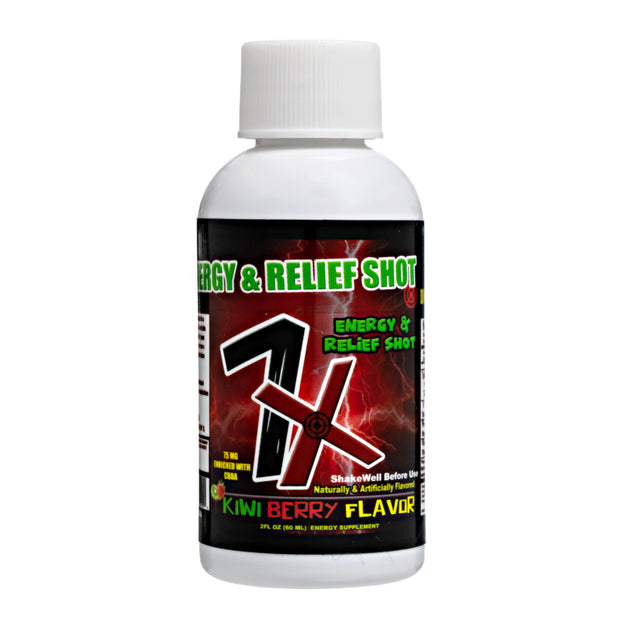 7X Energy & Relief Shot - Kiwi Berry Flavor - 12 Pack 75mg CBD Per Shot
