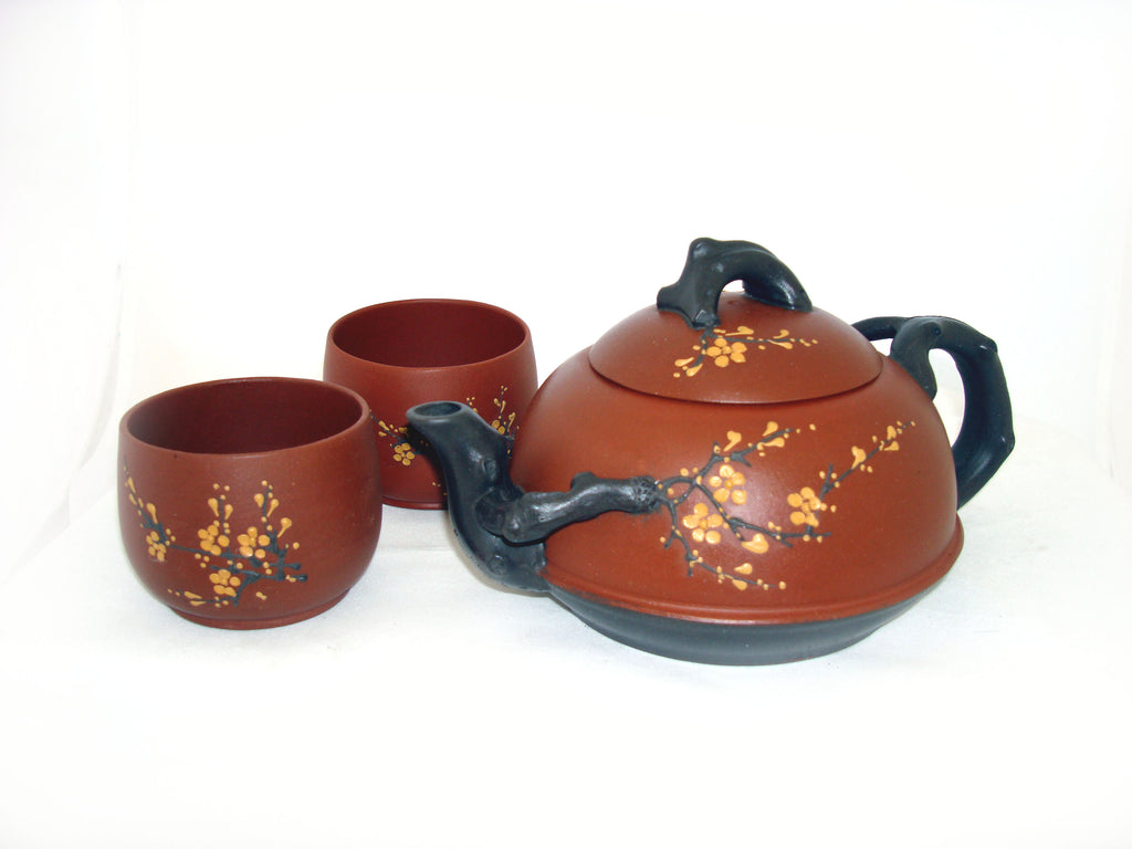 Plum Blossom Red Yixing Tea Set