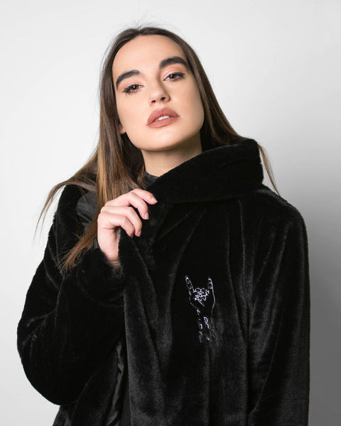 """GRL PWR"" Faux Fur Jacket With Embroidery Logo"