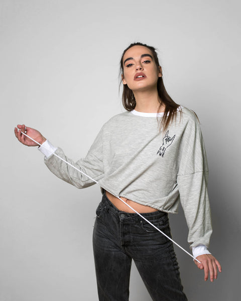 """GRL PWR"" Drawcord Grey Crop Top"