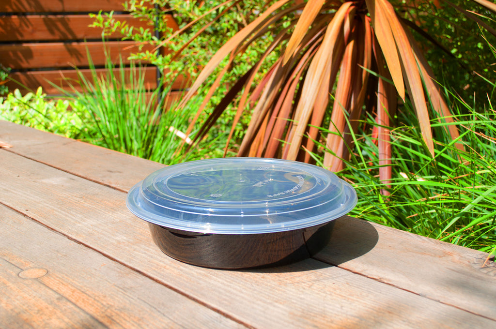 48oz Heavy Weight Round Black Container with Lid