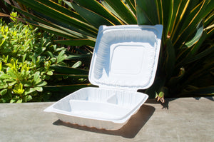 9'' 3-Compartment Clamshell Box