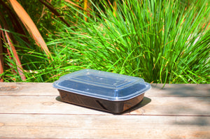 32oz Heavy Weight Rectangular Black Container with Lid