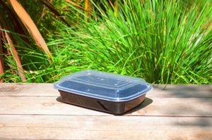 24oz Heavy Weight Rectangular Black Container with Lid