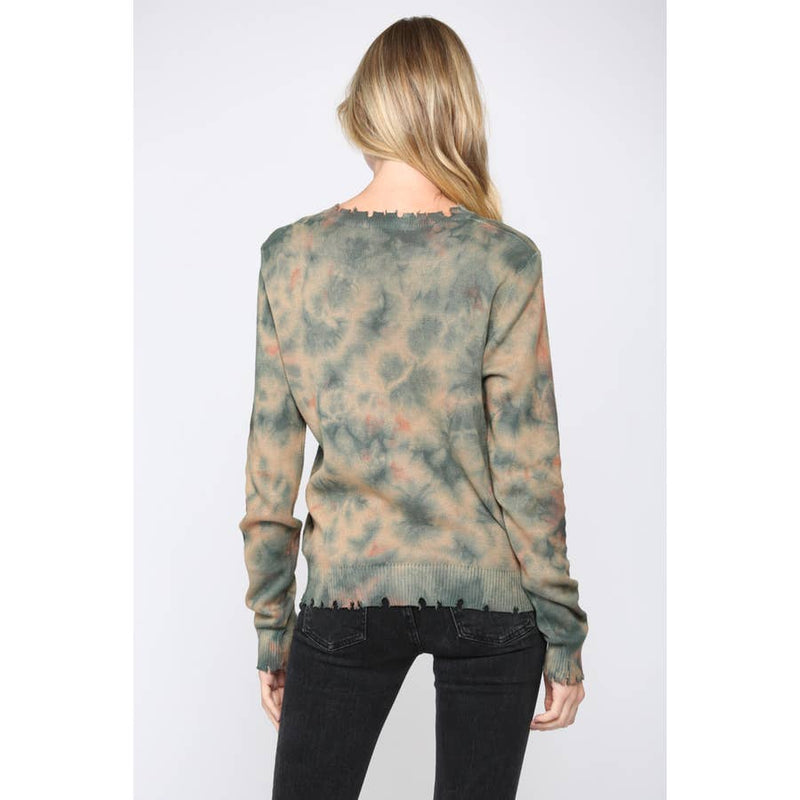 Tie Dyed Distressed Sweater