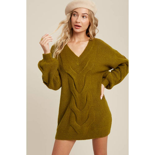 Spiral Twist Cable Tunic Sweater
