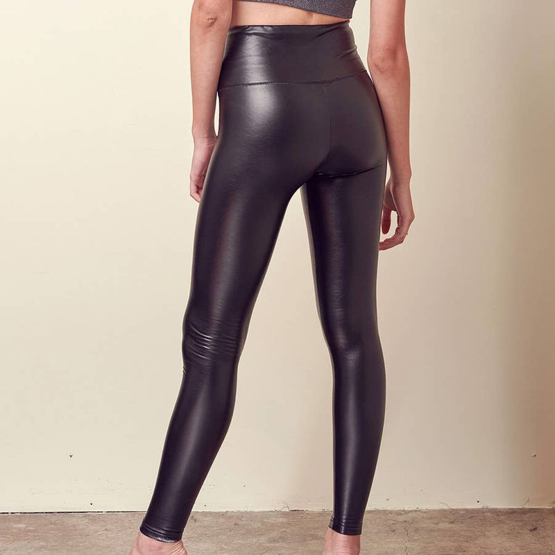 High rise faux leather black legging