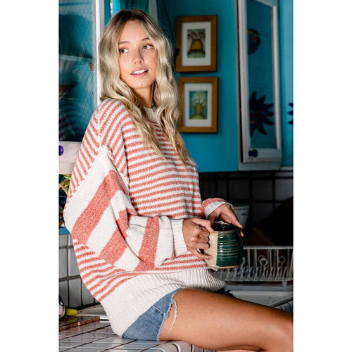 Coral & White Striped Sweater