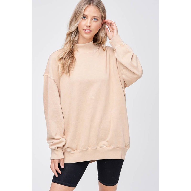 Mock Neck French Terry Sweater- Tan