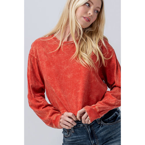 Mineral Wash Long Sleeve Crop Top