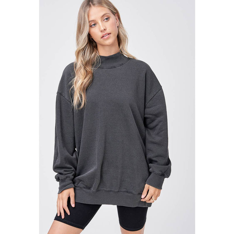 Mock Neck French Terry Sweater- gray bleached dye