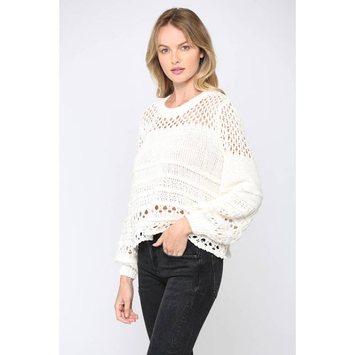 Loose Knit Chenille Sweater w/ Balloon Sleeve