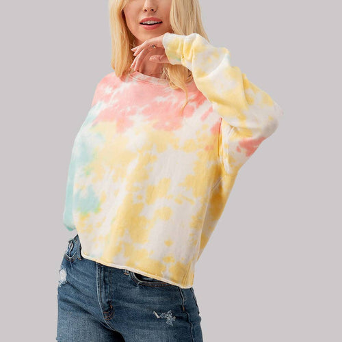 Tie Dye Drop Shoulder Crop Sweatshirt