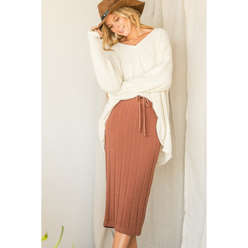 Solid Ribbed Skirt