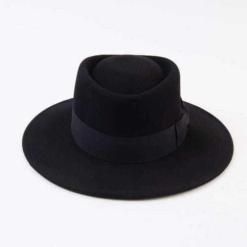 Black Bow Wool Boater Hat
