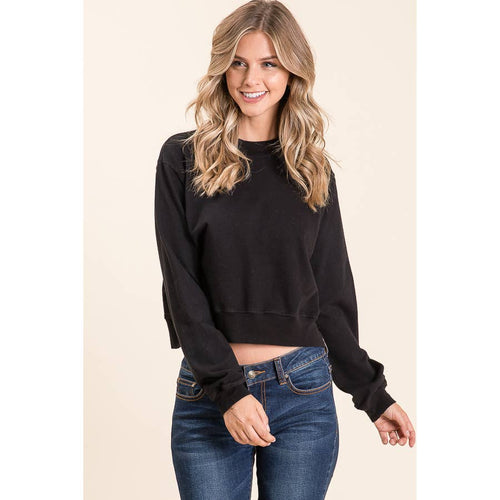 Cotton Black Long sleeve Crew