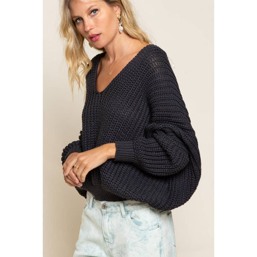Cable Knit Deep-V Dolman Sweater