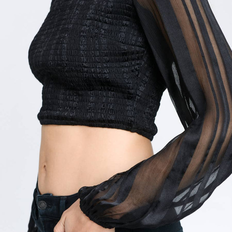 Smocked crop top with sheer long sleeves