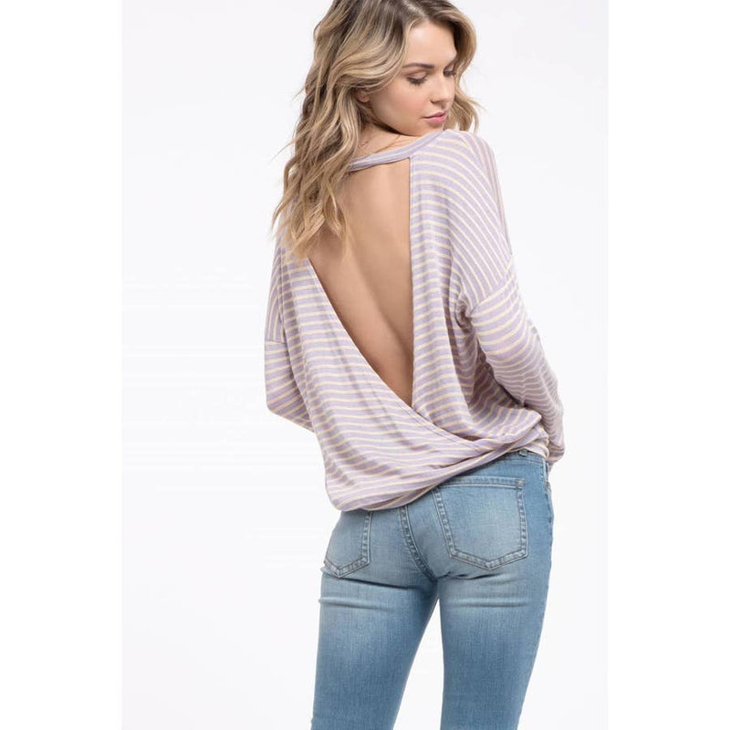 Striped Open Back Knit Top