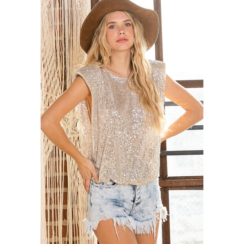 Gold Sequins Sleeveless Top