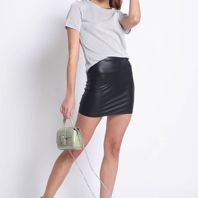 Coated knit mini skirt