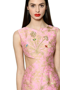Jewel Embellished and Embroidered Silk Jacquard Asymmetric Dress