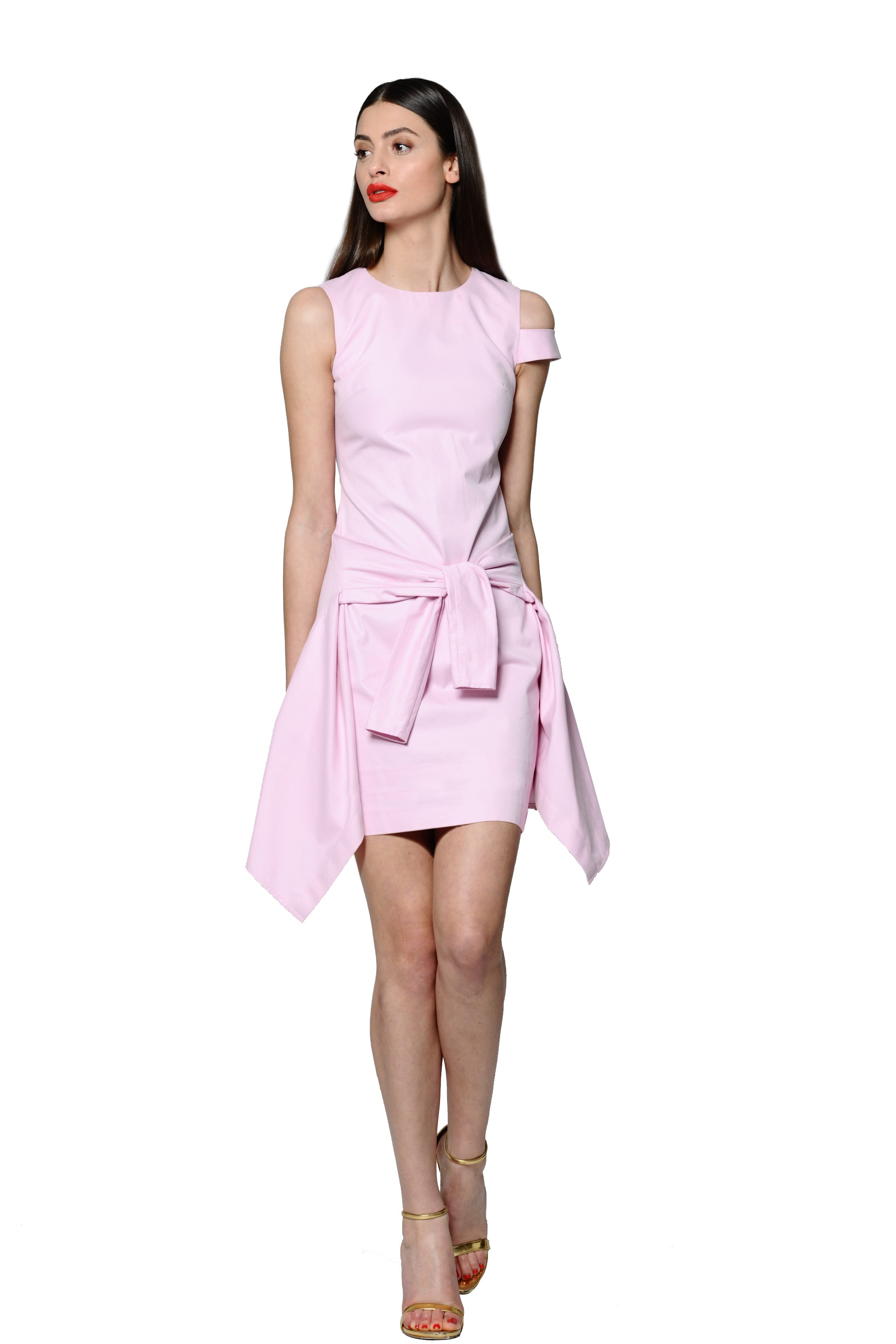 Peony Pink Tailored Poplin Dress