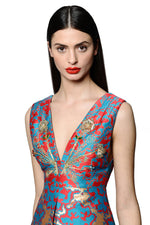 Load image into Gallery viewer, Silk Jacquard Vneck Jewel Embellished and Embroidered Mini Dress